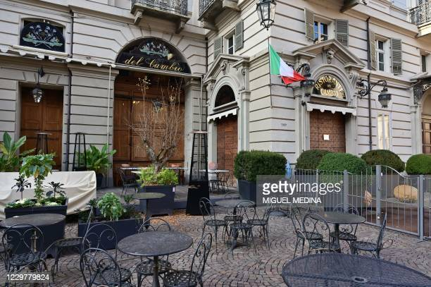 """Picture taken on on November 17, 2020 shows a general view of the restaurant """"Del Cambio in Turin, during the COVID-19 pandemic caused by the novel..."""