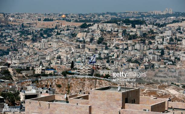 A picture taken on September 10 2017 from Jabel Mukaber a Palestinian neighbourhood In Israelioccupied East Jerusalem shows the Israeli settlement of...