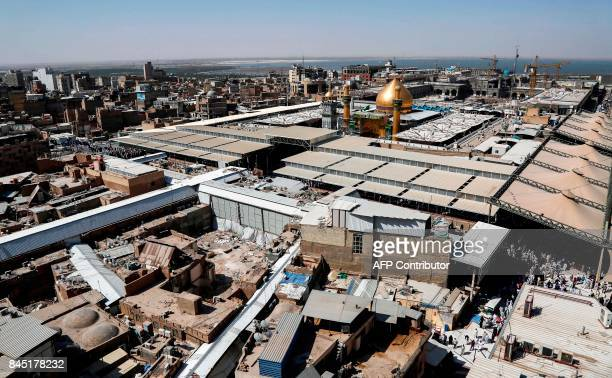 A picture taken on September 10 2017 shows a general view of Imam Ali's shrine in the Iraqi holy city of Najaf during Eid alGhadir which commemorates...