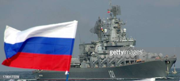 A picture taken on September 10 shows the Moskva missile cruiser flagship of Russian Black Sea Fleet entering Sevastopol bay Russia 'over the next...