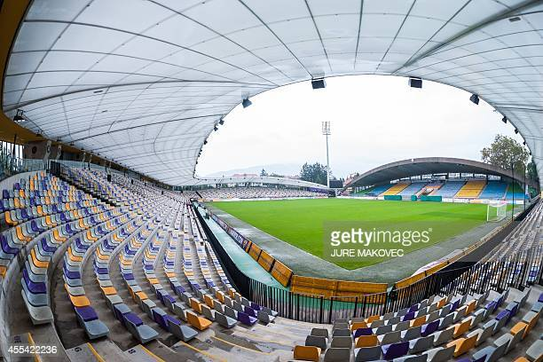 A picture taken on September 11 2014 shows the interior of the Ljudski vrt Stadium in Maribor Slovenia the home stadium of NK Maribor After three...