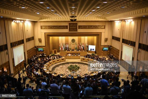 A picture taken on September 11 2017 shows a general view of the first session of the ArabJapanese political dialogue at the headquarters of the...