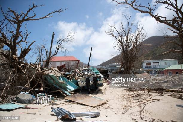 A picture taken on September 11 2017 shows a wrecked boat in GrandCase on the French Caribbean island of SaintMartin after it was hit by Hurricane...