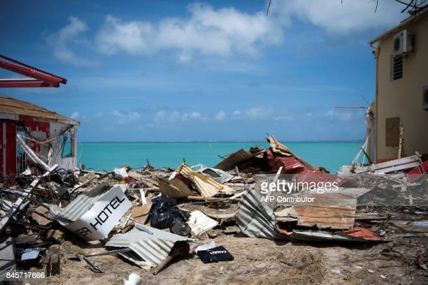 TOPSHOT A picture taken on September 11 2017 shows the rubbles from collapsed buildings in GrandCase on the French Caribbean island of SaintMartin...