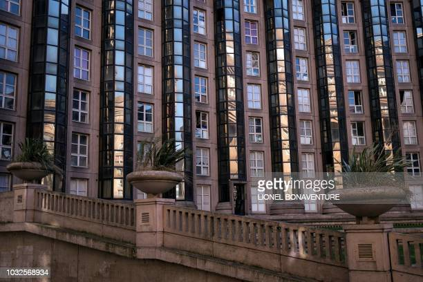 Picture taken on September 11, 2018 in Noisy-Le-Grand near Paris shows the Abraxas buildings created by Spanish architect Ricardo Bofill. - The...