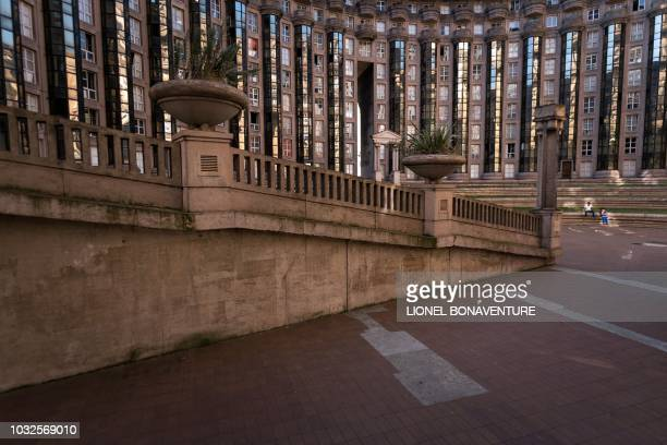 A picture taken on September 11 2018 in NoisyLeGrand near Paris shows the Abraxas buildings created by Spanish architect Ricardo Bofill The Abraxas...