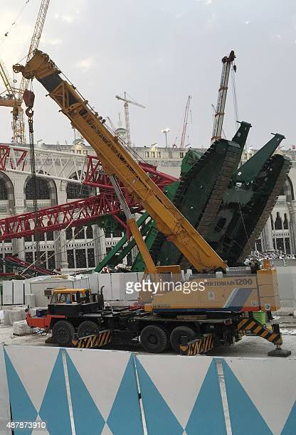 A picture taken on September 12 2015 shows the crane that collapsed the day before at the Grand Mosque in Saudi Arabia's holy Muslim city of Mecca...