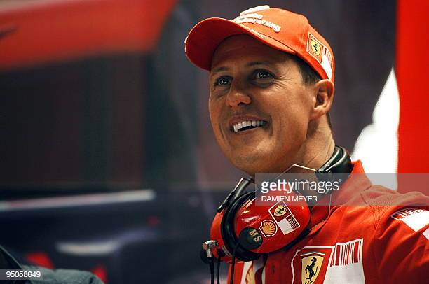 Picture taken on September 13 2008 shows seven times drivers champion and Ferrari team advisor Michael Schumacher in the pits of the Monza racetrack...