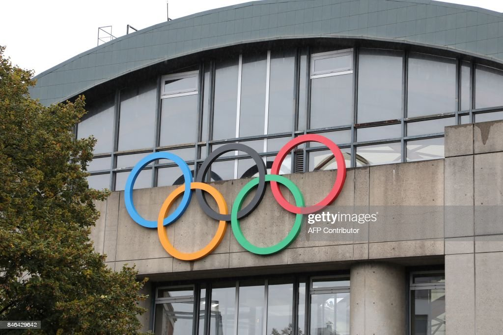 A Picture Taken On September 13, 2017 Shows Olympic Rings On The Olympic  Swimming Pool