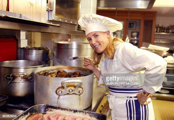 A picture taken on September 13 in Paris shows French chef Helene Darroze in her restaurant twostarred in the Michelin guide Fourth generation chef...