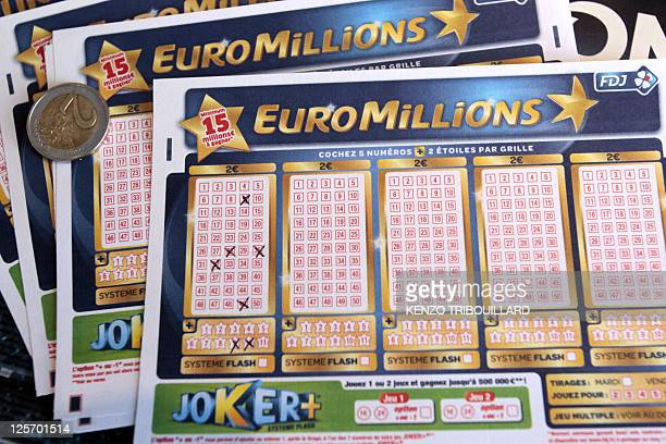 A picture taken on September 14 2011 shows a Euromillions lottery grid with winning numbers in the French western town of PontL'Eveque An...