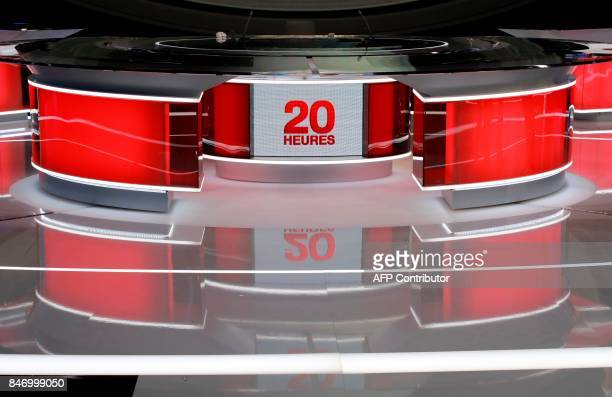 A picture taken on September 14 2017 in Paris shows a view of the set of the French TV channel France 2 broadcast news at the Studio C at France 2...