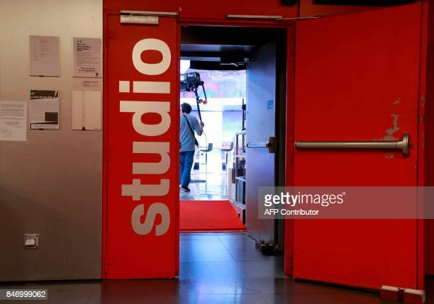 A picture taken on September 14 2017 in Paris shows the entrance of the Studio C housing the set of the French TV channel France 2 broadcast news at...