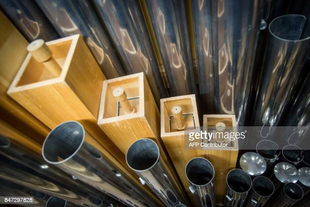 A picture taken on September 14 2017 shows a detail of the organ of the Henry Le Boeuf Great Hall at the center of Fine Arts in Brussels A festival...