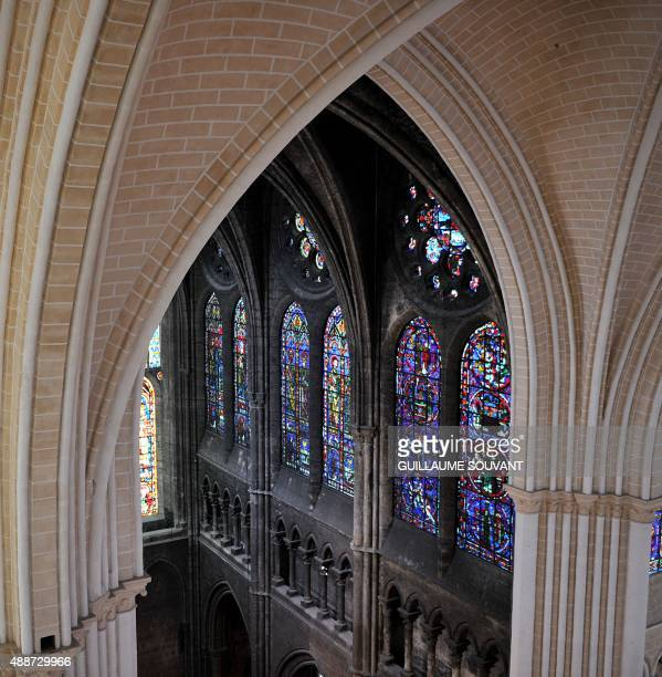 A picture taken on September 15 2015 in Chartres near Paris shows a general view of the inside of the cathedral during its restoration Chartres's...