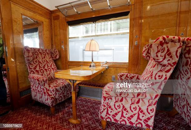 """Picture taken on September 15, 2018 shows a saloon of the coach """"Etoile du Nord"""" of the legendary train """"Orient Express"""" in Paris during the European..."""