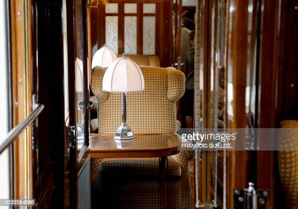 """Picture taken on September 15, 2018 shows the interior of the Pullman coach """"Fleche d'Or"""" of the legendary train """"Orient Express"""" in Paris during the..."""