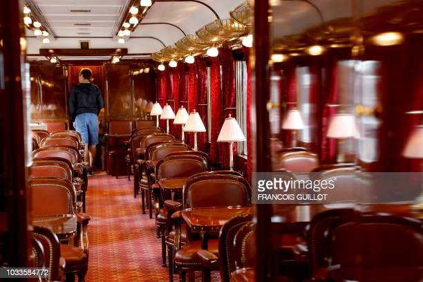 A picture taken on September 15 2018 shows the Pullman coach Fleche d'Or of the legendary train Orient Express in Paris during the European Heritage...
