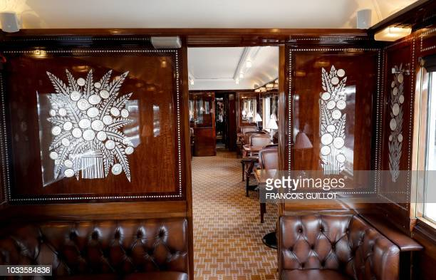 """Picture taken on September 15, 2018 shows the restaurant """"Taurus"""" of the legendary train """"Orient Express"""" in Paris during the European Heritage Day."""