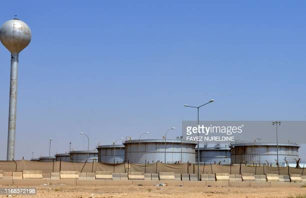 A picture taken on September 15 2019 shows an Aramco oil facility at the edge of the Saudi capital Riyadh Saudi Arabia raced today to restart...