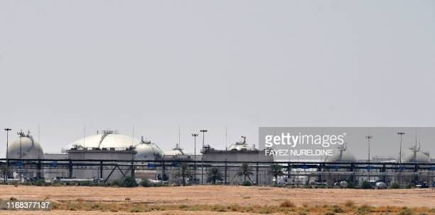 A picture taken on September 15 2019 shows an Aramco oil facility near alKhurj area just outside the Saudi capital Riyadh Saudi Arabia raced today to...