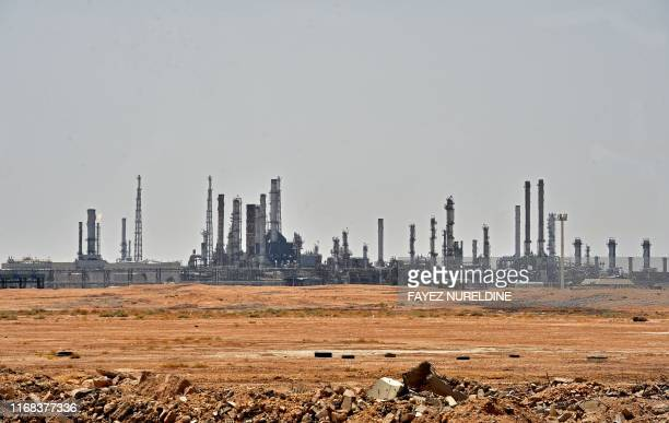 TOPSHOT A picture taken on September 15 2019 shows an Aramco oil facility near alKhurj area just south of the Saudi capital Riyadh Saudi Arabia raced...