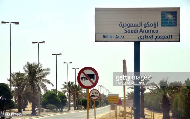 A picture taken on September 15 2019 shows the entrance of an Aramco oil facility near alKhurj area just south of the Saudi capital Riyadh Saudi...