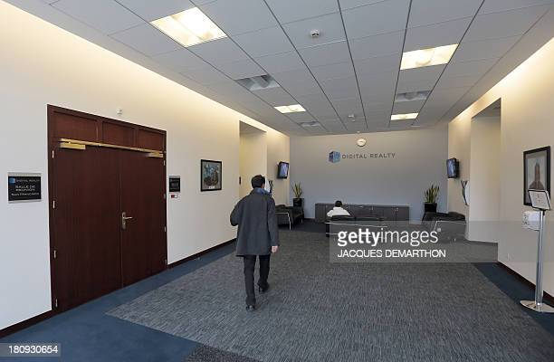 A picture taken on September 17 2013 in SaintDenis outside Paris shows the entrance hall of the French branch of Digital Realty a company involved in...