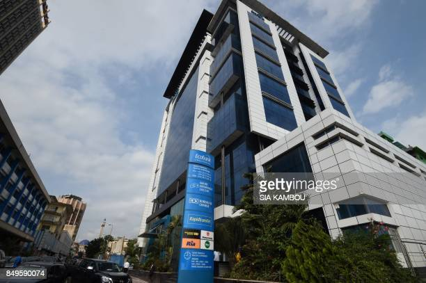 Picture taken on September 18 2017 in Abidjan shows the Ivory coast's headquarters of the panAfrican bank Ecobank EcobankIvory Coast the Ivorian...