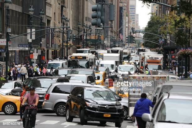 A picture taken on September 18 2017 shows heavy trafic in the streets of New York the day before the opening of the 72nd session of the United...
