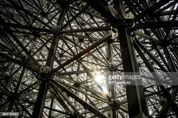 A picture taken on September 18 2017 shows the metal structure of the tribune at the Yekaterinburg Arena in Yekaterinburg Yekaterinburg Arena will...