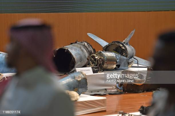 A picture taken on September 18 2019 shows displayed fragments of what the Saudi defence ministry spokesman said were Iranian cruise missiles and...
