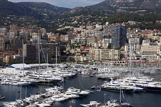 A picture taken on September 19 2012 shows a general view in Monaco with yachts moored at Port Hercules during the 22th edition of the International...
