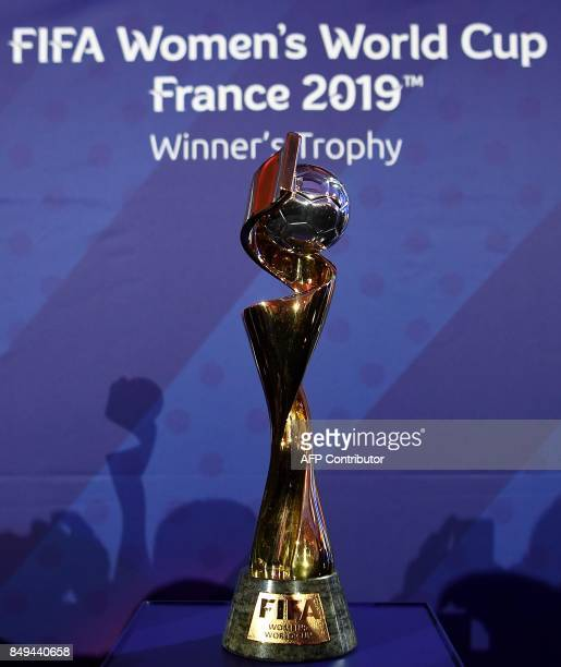 A picture taken on September 19 2017 in Paris show the trophy for the 2019 FIFA Women World Cup in France The competition which runs from June 7 to...