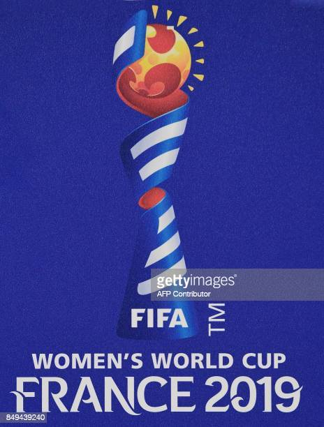 A picture taken on September 19 2017 show a offical logo for the 2019 FIFA Women World Cup in France The competition which runs from June 7 to July 7...
