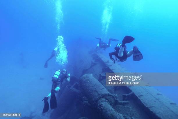 A picture taken on September 2 2018 off the shore of the Lebanese town of Khaldeh about 10 kilometres south of the capital Beirut at a depth of 38...