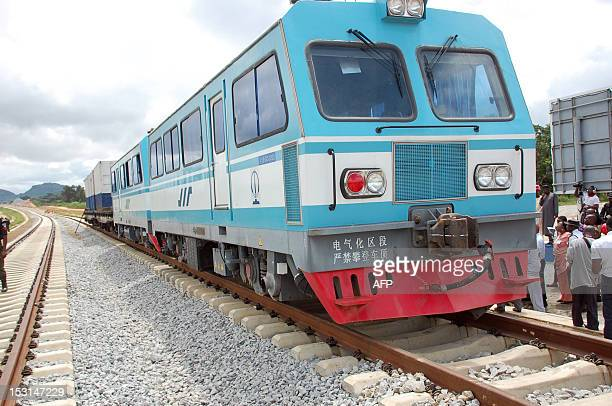 SIMON A picture taken on September 20 2012 in Abuja shows a train at standstill on a track under construction at the building site of the Abuja light...