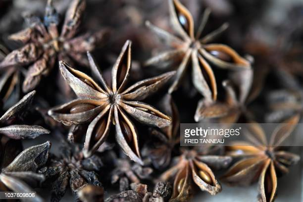 A picture taken on September 20 shows star anis in a herbalist's shop in Fouesnant western France Since the removal of the herbalist profession and...