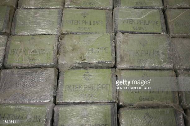 A picture taken on September 21 2013 in Nanterre shows a part of the 13 tonnes of pure cocaine seized by French police French Interior minister...