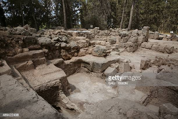 A picture taken on September 21 2015 shows the site of excavations conducted by the Israel Antiquities Authority where a large Mausoleum was recently...