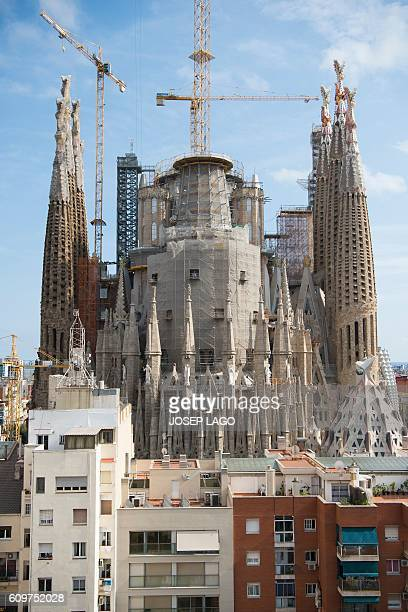 A picture taken on September 22 2016 shows a general view of the current works at the Sagrada Familia basilica in Barcelona designed by Spanish...
