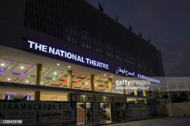 Picture taken on September 22, 2021 shows the main entrance to the Somali National Theatre in Mogadishu. - The venue will host its first screening of...