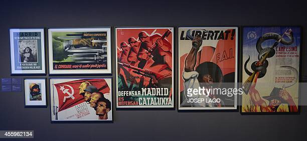 A picture taken on September 23 2014 at the National Art Museum of Catalunya in Barcelona shows Spanish civil war posters as part of a new Modern art...