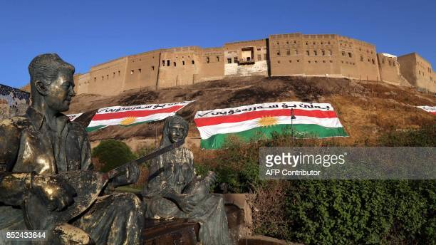 A picture taken on September 23 2017 shows statues in the area of the Arbil Citadel and park in the capital of the autonomous Kurdish region of...