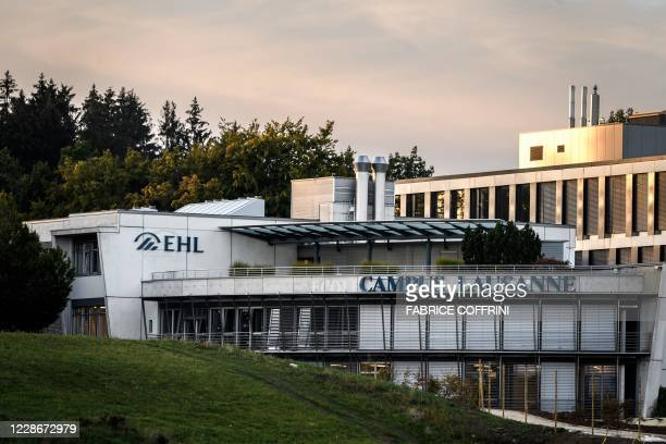 Picture taken on September 23, 2020 above Lausanne shows the EHL Hospitality Management School of Lausanne in which some 2500 students have been...