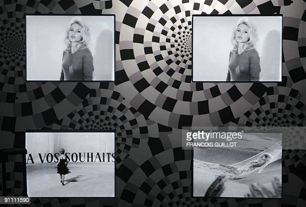 A picture taken on September 24 2009 at the MA30 Espace Landowski museum in BoulogneBillancourt west of Paris shows videos displayed as part of an...