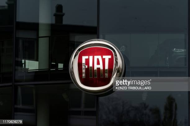 A picture taken on September 24 2019 at a car dealer in Brussels shows the logo of italian carmaker Fiat An EU court on September 24 2019 annulled an...