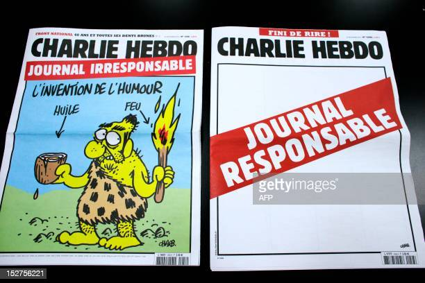 A picture taken on September 25 2012 in Paris shows today's two editions of French satirical magazine 'Charlie Hebdo' one reading 'Irresponsible...