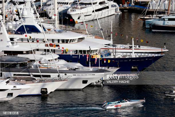 A picture taken on September 25 2013 shows a general view in Monaco with yachts moored at Port Hercules during the 23th edition of the International...