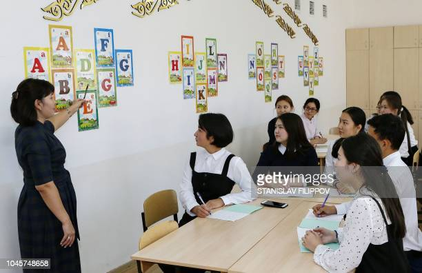A picture taken on September 25 2018 shows children attending a class at Astana's school number 76 The classrooms of school number 76 in Kazakhstan's...